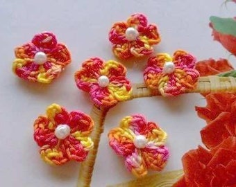 2mm Crochet Flowers, Tiny Appliques, Floral Appliques, Flower Embellishment, Mini Crochet Flowers, Multicolored Flowers,Tiny Cherry Blossoms