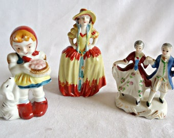 3 Occupied Japan Figuines Girl with Dog  Victorian Couple Colonial Lady Instant Collection Figurine