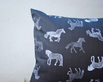 """Organic Horses Pillow 16"""" - Black and White Wild Horses in Watercolor- Pillow Sham, Throw Pillow, Eco Friendly Pillow- Home Decor"""
