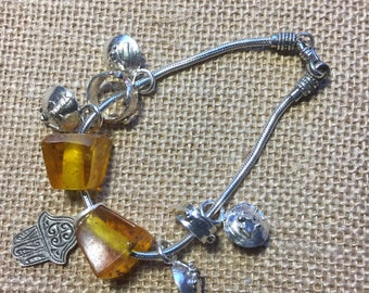 Silver Sterling Bracelet and Amber Beads 1