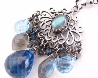 Around Midnight Necklace - London blue topaz, Labradorite and SIlver Necklace
