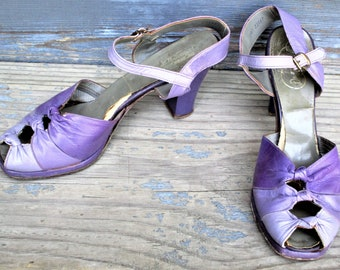Vintage 40s Open Toe Pumps Shoes Purple Character 9 Mary Jane Tri Color