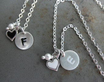 Enamel Initial charm necklace with heart and tiny pearl