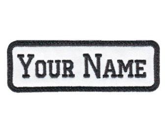 Rectangular 1 Line Custom Embroidered Name Tag Patch (E)