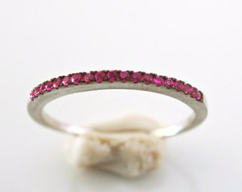 Pave Ring - Silver Ring - Raspberry Pink Ring - Skinny Ring - Stacking Ring - Crystal Ring