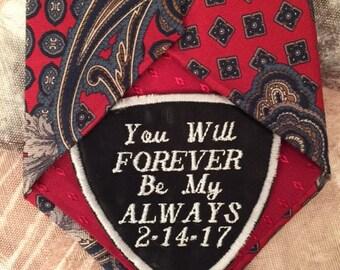Grooms gift, Husband gift, Tie Patch, Wedding Tie Patch, Embroidered Tie, Personalized Tie Patch, Wedding gift,