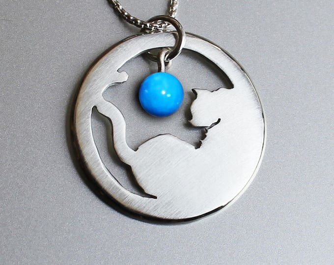 Cat Pendant, Silver Pendant, Silver Jewellery, Cat Jewelry, Cat and ball.