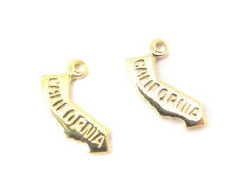 Engraved Tiny GOLD Plated on Raw Brass California State Charms (2X) (A404-C)
