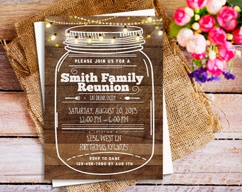 Rustic Family Reunion Invitation, BBQ Family Reunion Invite, Picnic Invitation, grill Invitation, Grilling Party Invitation, Cook Out Invite