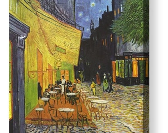 "Vincent Van Gogh ""Cafe Terrace at Night"" Canvas Box Art A4, A3, A2, A1 ++"