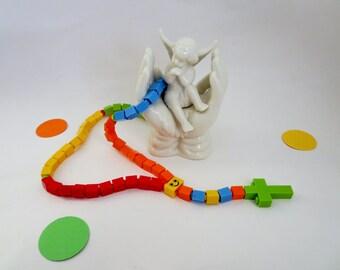 Catholic Rosary - Colorful Rainbow Children Catholic Rosary made of Lego Bricks