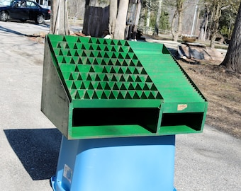 Vintage INDUSTRIAL Storage Display Cabinet Green Metal  AWESOME Bin for Workshop Crafts Toys Fishing and more  1950s Factory Salvage