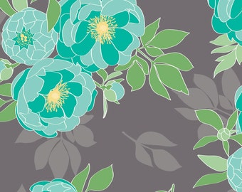 SALE The Cottage Garden Main Gray by Riley Blake Designs - Floral Flowers Teal - Quilting Cotton Fabric - end of bolt pieces