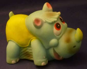 Vintage Baby Rhinocerus Rubber Squeak Toy, 1970s