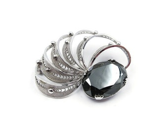 Sorrento Sterling Hematite Brooch - Sterling Silver, Silver Filigree, Gray Stone, Vintage Brooch, Coat Jewelry, Sculptural, Vintage Jewelry