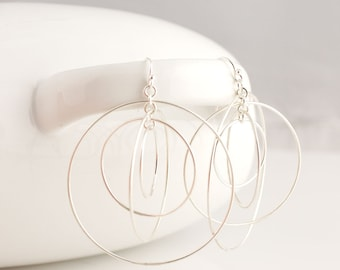 Extra Large Satellite Circle Hoops Sterling Silver Earrings Forged