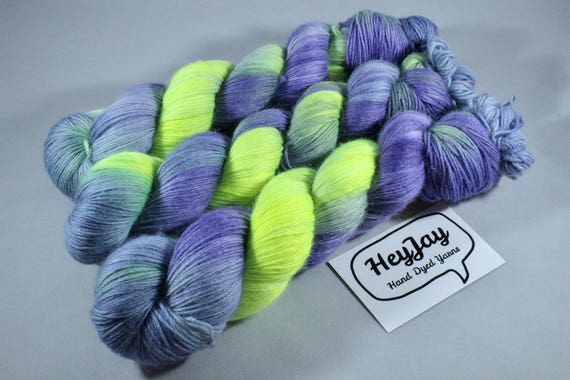 Hand Dyed Sock Yarn, Merino, Alpaca, Nylon Blend - Nightwatch