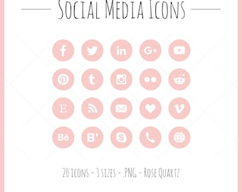 Social Media Icons - 20 icons in 3 sizes, PNG files, rose quartz, solid style, pink, rose