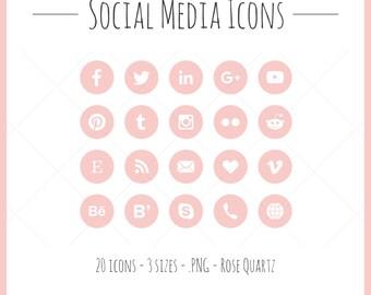 Social Media Icons - 20 icônes en 3 tailles, les fichiers PNG, quartz rose, style solide, rose, rose