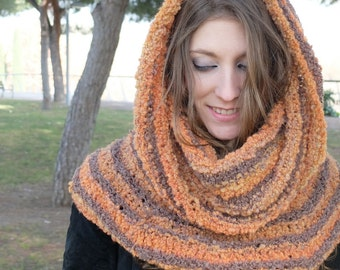 Bouclé Striped Chunky Cowl, Snood, Neckwarmer, Reversible, Seamless, Saffron and Taupe