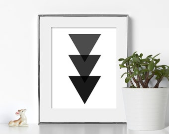 Black and White Triangle Print Digital Download Printable Art Graphic Design Noir Print Graphic Design Print Trendy Wall Art Cool Designs