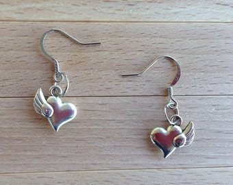 Winged Heart Earrings - Heart Charm Jewelry - Heart Earrings