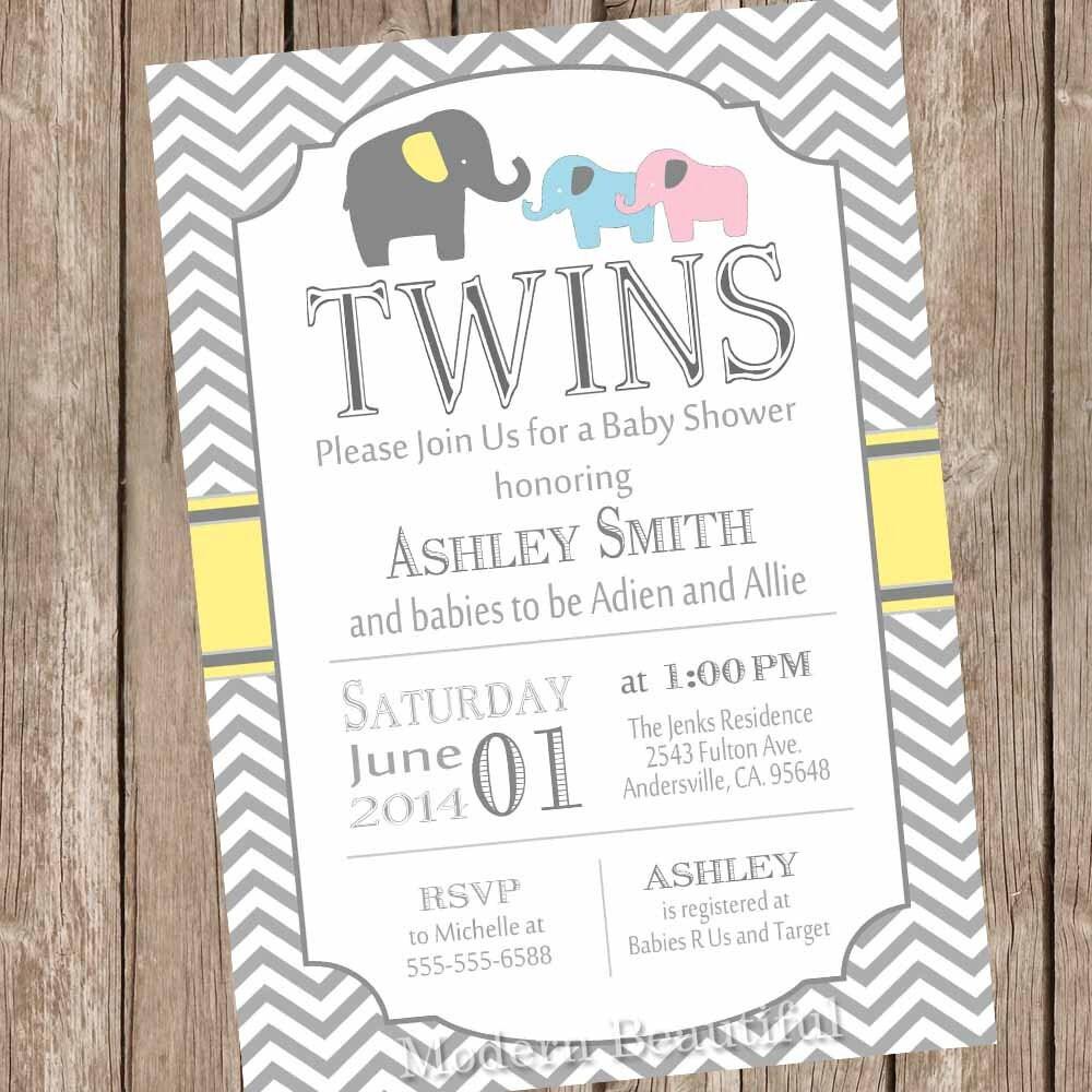 Elephant Twins Baby Shower Invitation twin girl twin boy