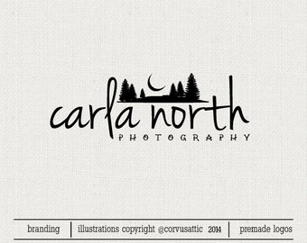 Wild nature photography logo -  mountains moon - Eps and Png file watermark - Premade  logo - signature logo wild logo for photographers