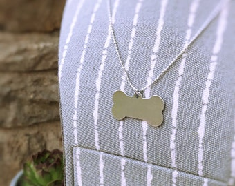 Silver Dog Bone Personalized Necklace