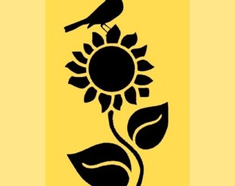 Stencil Sunflower with Crow 10x5