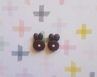 Chocolate Bunny Earrings Easter Polymer Clay