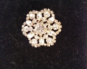 Domed Rhinestone Brooch, Marquis and Round Stones in Silver Tone Metal, Unsigned