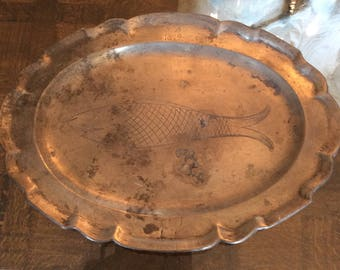 "Vintage Pewter Oval Platter with Engraved Folk Art Wigglework Fish,  Monogram ""KK"" and Date ""1819"", Probably Early to Mid-20th Century"