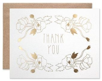 Gold Foil Thank You Poppy Garden