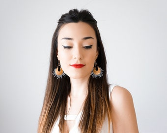 Statement Earrings Gold Earrings Moon Phases Celestial Boho Earrings Spring Trends Mom Gift Girlfriend Gift for Her Inspirational/ PAOLA