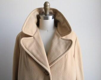 Vintage Tan Wool Coat - Vintage Wool Coat with Pockets - 1970s Women's Vintage Coat