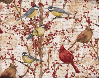 BTY Winter BIRDS & VINES Print 100% Cotton Quilt Crafting Springs Creative Fabric by the Yard