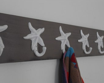 Grey wall organizer entryway mudroom foyer renovation starfish hook towel rack coat leash hook stocking holder hanger BeachHouseDreams OBX