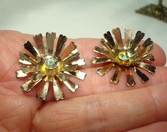 Vintage Fluffy Golden Metal Flower Earrings with Aurora Borealis Stone Centers.