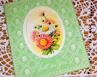 Vintage Greeting Card, Wishing Good Health, Just For You, Green, Floral, Flowers, Cut Out Circle  (1595-09)