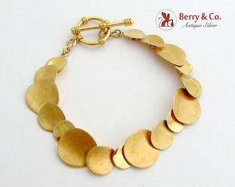 Gilt Round Link Bracelet Sterling Silver Toggle Clasp
