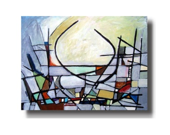 Urban Sunrise ORIGINAL Hand Signed Abstract Oil PAINTING, Colorful Expressionist Modern Contemporary Cubist Art on Canvas with COA