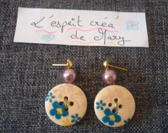 large colorful buttons Flora earrings