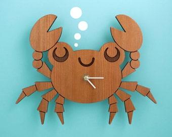 Kids Clock: Wood Crab Wall Clock for Ocean Nursery Theme