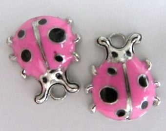 Set of 3 pieces Pink LADYBUG Charm Pendants