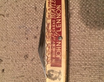 Vintage John Lennon Commemorative Pocket Knife