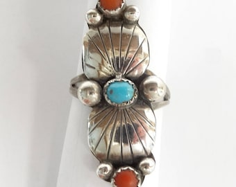 Native American Turquoise and Coral Sterling Silver Ring -  Native American Jewelry – Turquoise Ring – Coral Ring - Size 7 1/2