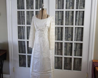 Mid 1960's Wedding Dress With Cathedral Train, Lace Applique