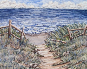 Original Watercolor Painting Summer Beach Wall Art Ocean Trail Seascape Signed with Certificate of Authenticity