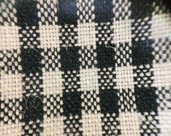 Vintage fabric cotton woven gingham tiny checks plaid fabric by the yard black and white gingham fabric shirting madras doll clothes